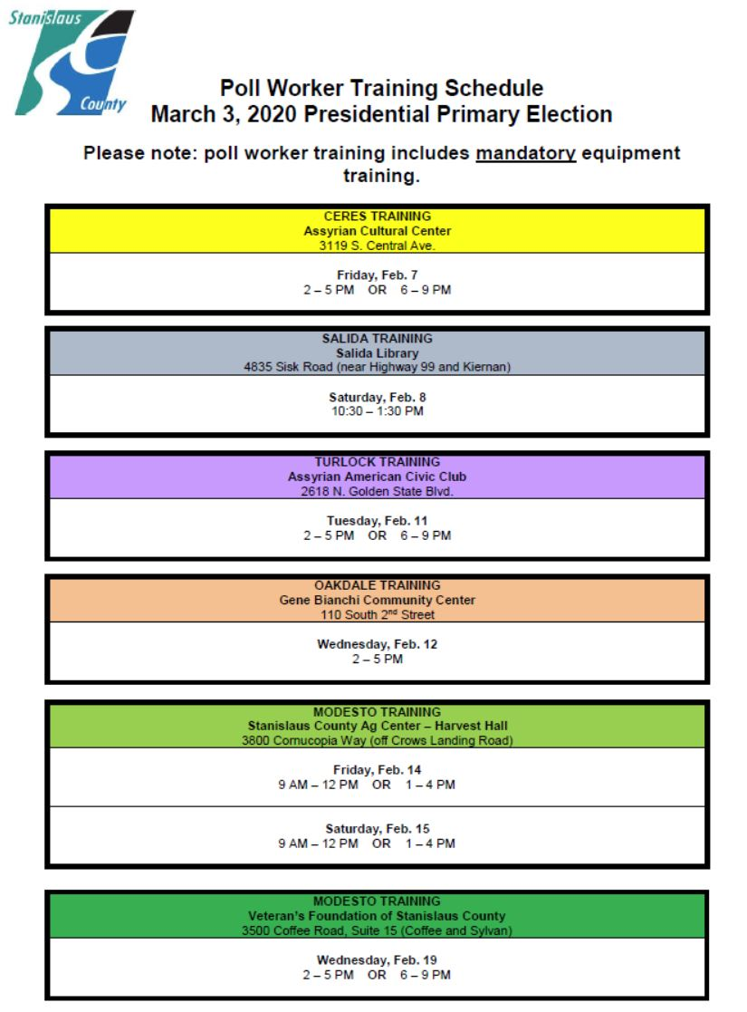 Poll Worker Training Schedule - Elections - Stanislaus County